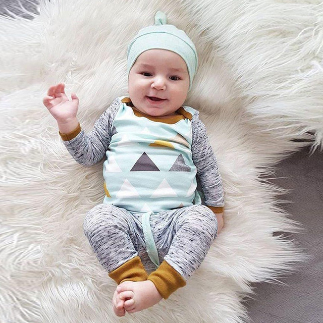 09f0fd4a2285 Lovely Infant Outfits 4 Month Old Baby Boy Clothes Foe Summer Blue Boy  Hat+Long Sleeve Top+Gray Pants 3 Pcs Baby Set Mamas Boy