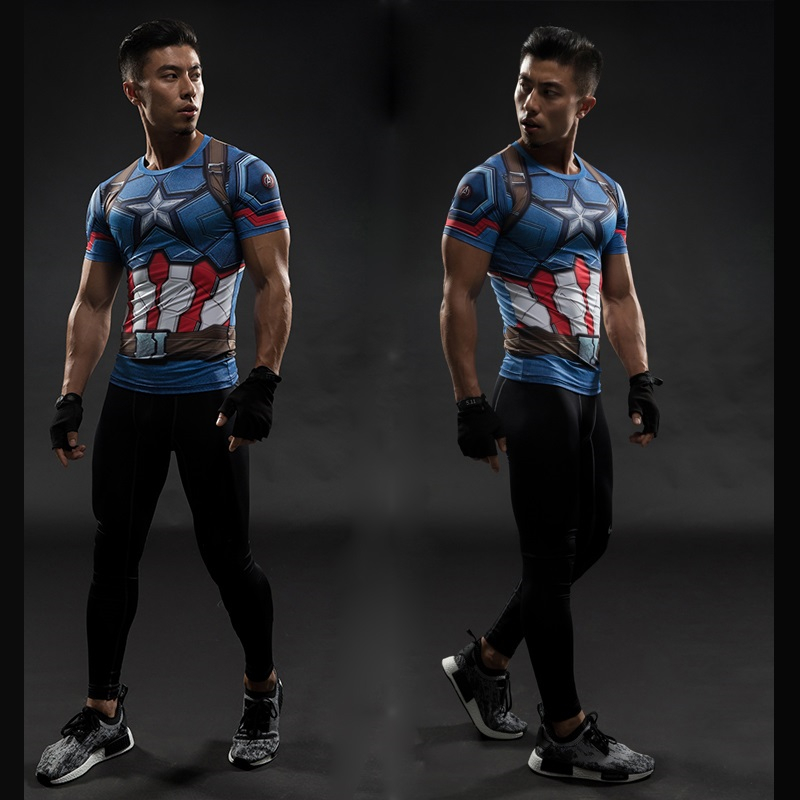TUNSECHY Brand Captain America 3D Printed T-shirts Men Marvel Avengers iron man Fitness Clothing Male Crossfit Tops T-shirts