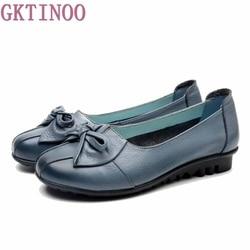 GKTINOO 2019 Shoes Woman Genuine Leather Women Shoes 3 Colors Loafers Women's Flat Shoes Fashion Women Flats 1