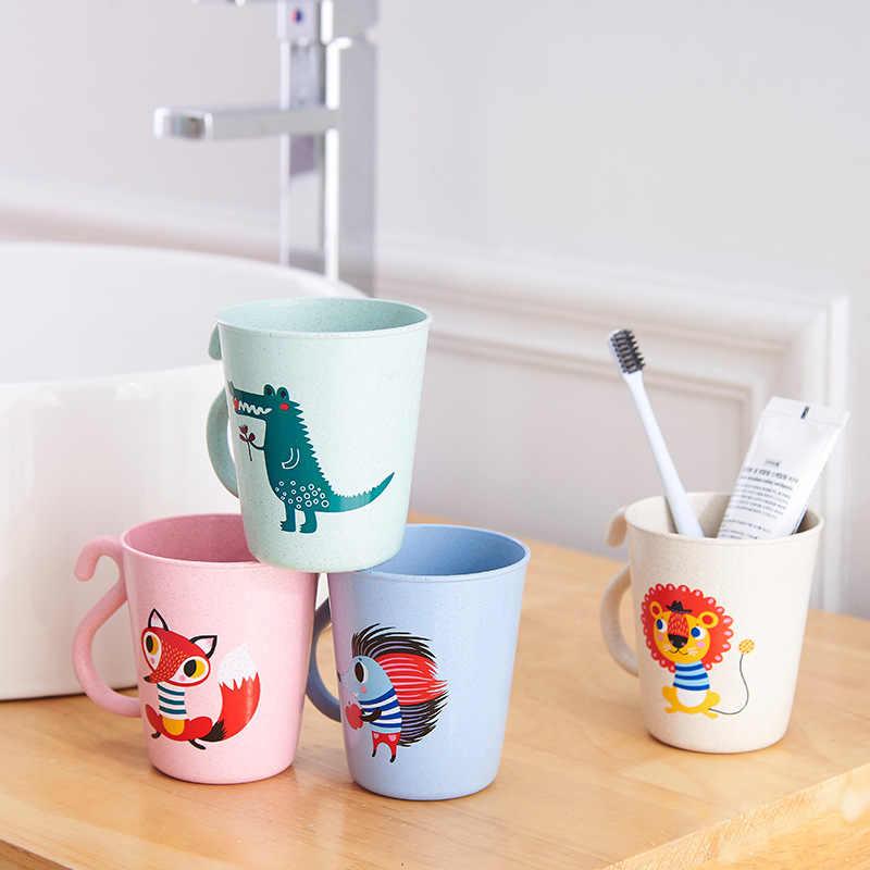 Vasos para bebé de 350ML, tazas para bebé con animales de bambú, bonitas tazas para bebé con asa, Material seguro natural, vasos para chico