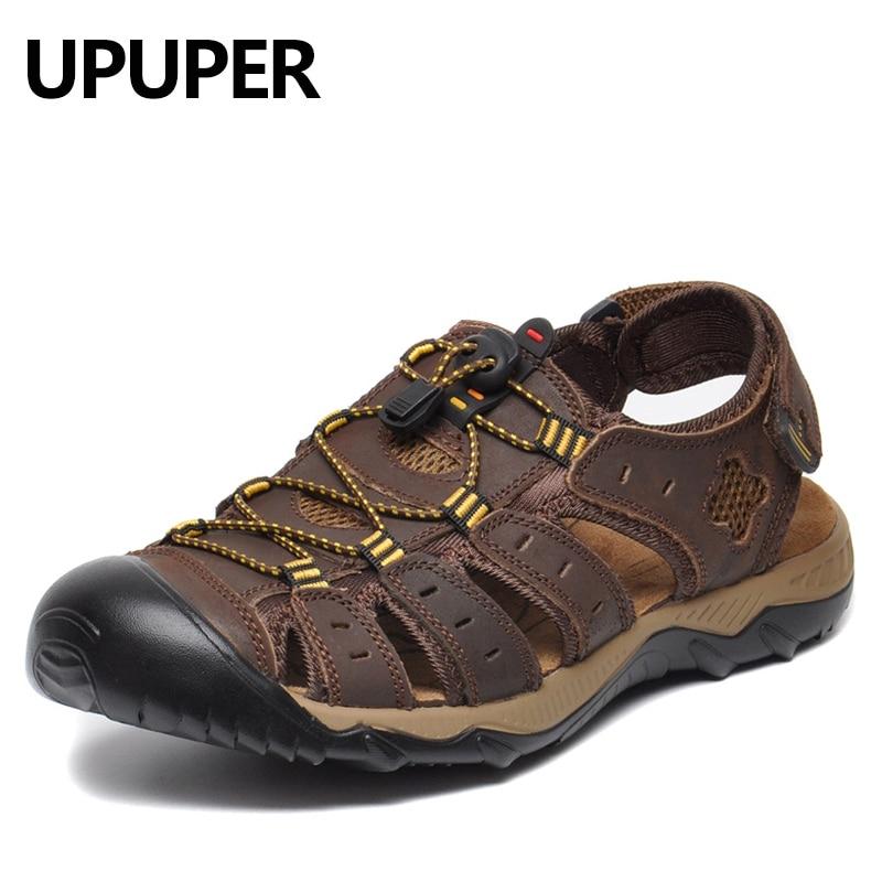 Big Size 38-48 Summer Men'S Sandals Genuine Leather Beach Sandals For Men Outdoo