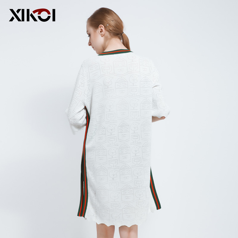 Robes Pulls cou O Solide Long Pull Chandails Mode White Robe Tricots Femmes De Et Casual Shift 2017 AR3Ljqc54