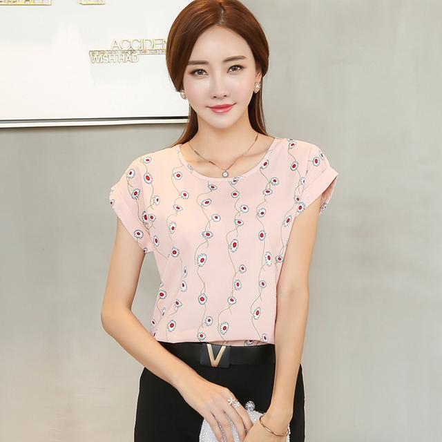 2017 summer new fashion short-sleeved women casual loose chiffon blouse temperament ladies chiffon plus size shirt top 39i-b5 30