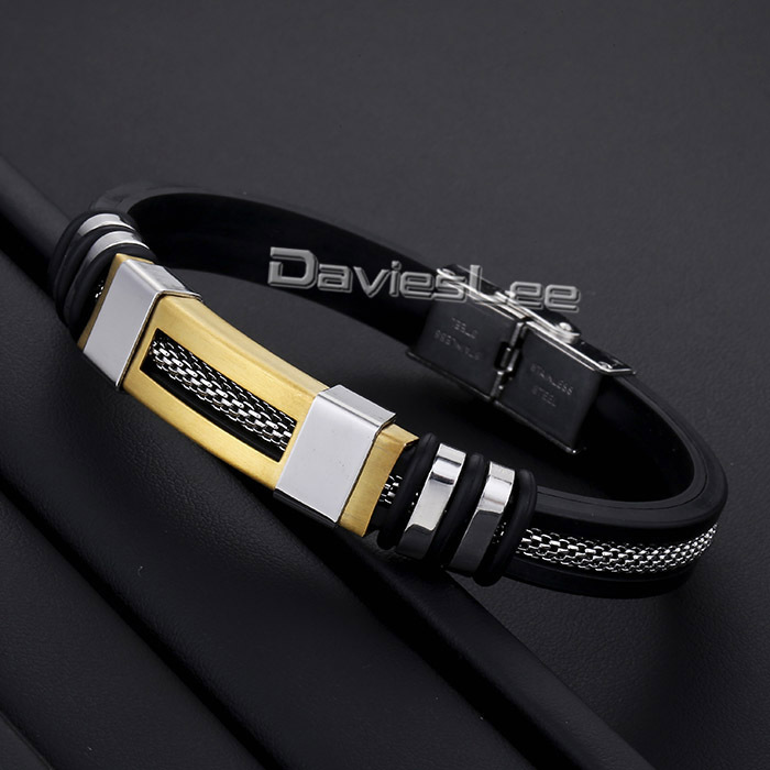 Davieslee Black Rubber Silver Gold Tone Mesh Stainless Steel Bracelet Mens Chain Boys Bangle Fashion Jewelry DLKB463