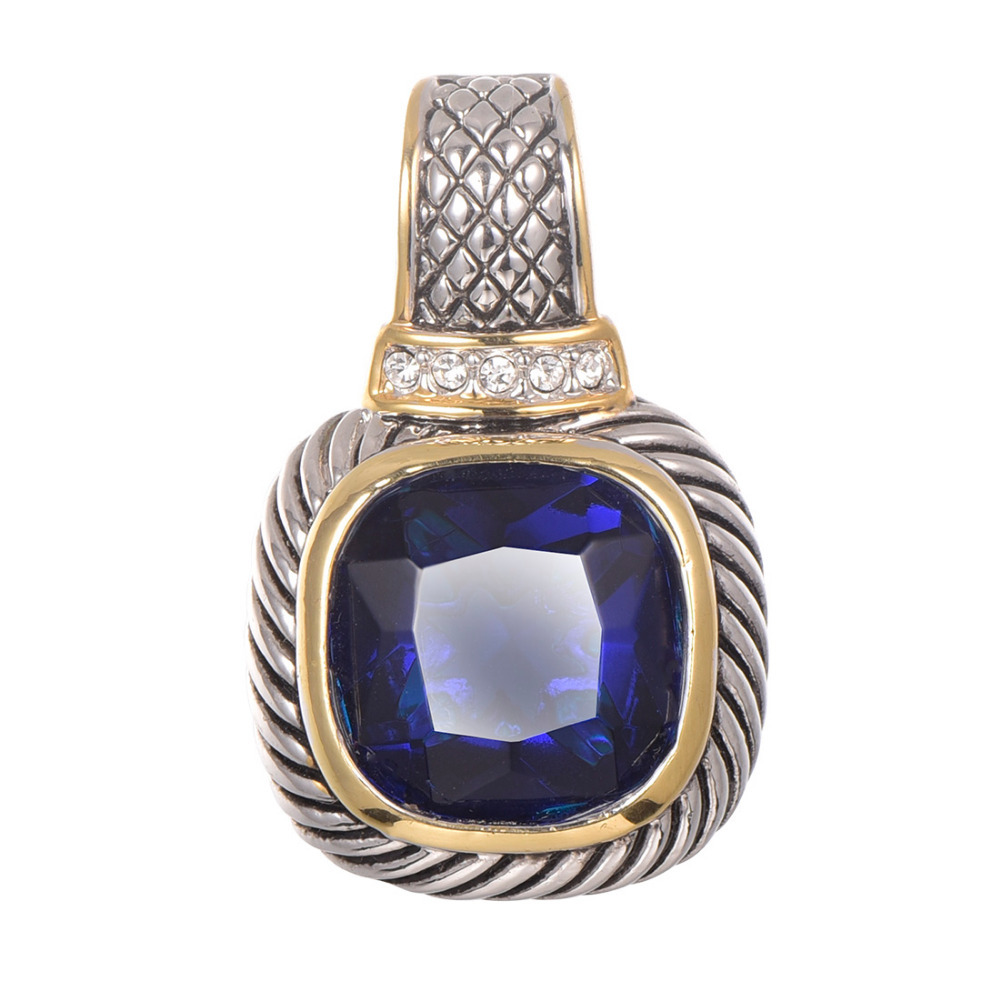 Free Shipping Blue Crystal Zircon Gold Filled Pendant 925 Sterling Silver Beautiful Attractive Jewelry Pendant TE646