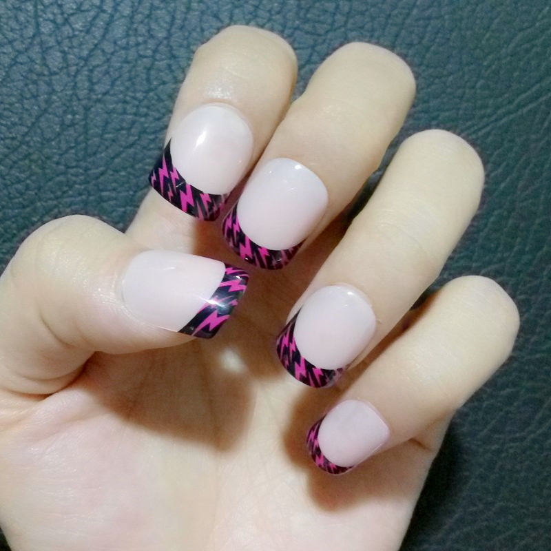 24Pcs Kids False Nails Natural Pink French Fake Nails DIY Nail Art ...