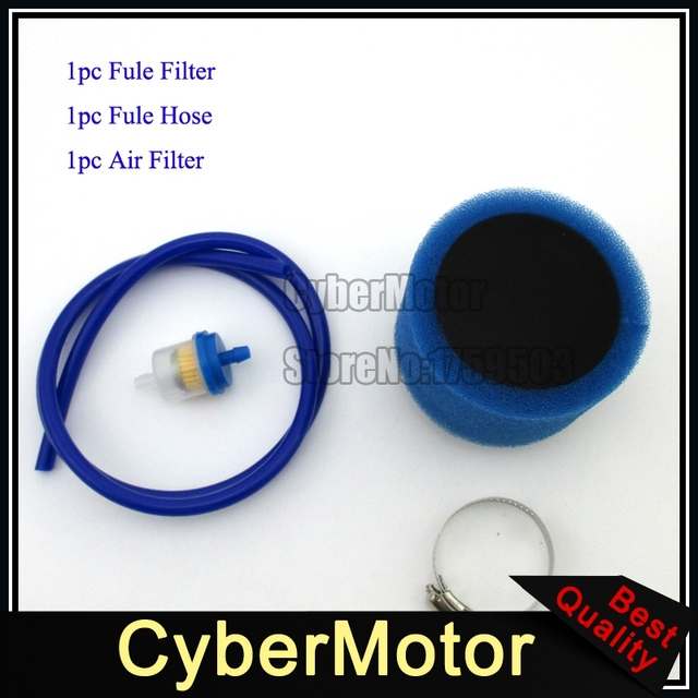 Motorcycle Blue Fuel Hose Tube 38mm Air Filter Clearner For 110cc
