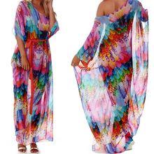 Женское полупрозрачное шифоновое длинное платье Кафтан с принтом