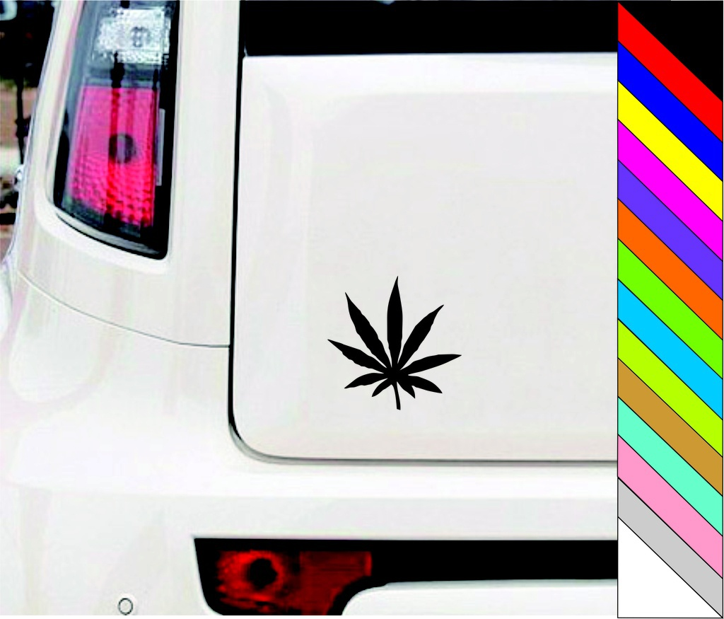 Black POT LEAF DECALS   WEED  RASTA STICKERS 15cm