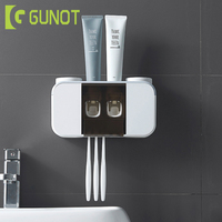 GUNOT Wall Mounted Toothbrush Holder Automatic Toothpaste Dispenser Portable Toothpaste Squeezer Home Bathroom Accessories Sets