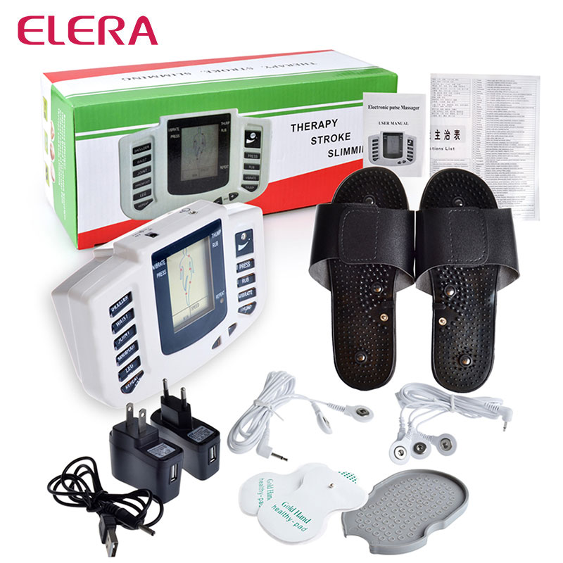 ELERA Electrical Muscle Stimulator Body Relax Slimming Massager massage pulse tens Acupuncture Therapy Machine+4 Electrode Pads vietnamese 4 in 1 full body tens unit machine digital slimming massager electric pulse therapy massage accupuncture muscle relax