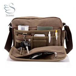 Scione Холст Универсальный посланник сумки на плечо одноцветное Мужские портфели чемодан карман для карты для мужчин женщин Офис