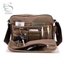 Scione Canvas Multifunction Messenger Shoulder Bag Solid Bri
