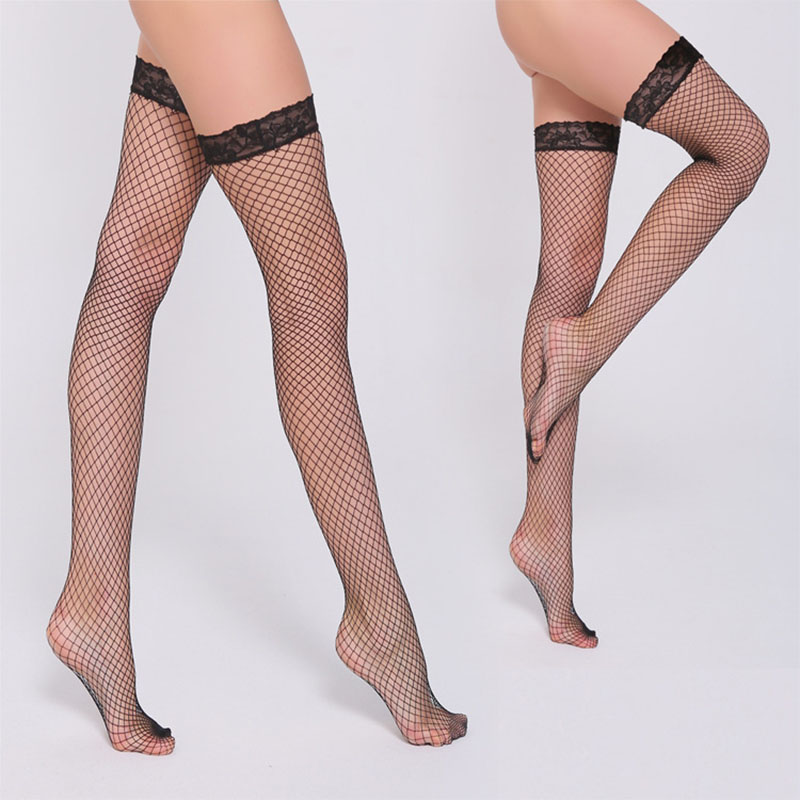 Fashion Women Female Sexy Mesh Lace Hollow Out Fishnet Thigh Over Knee High Thin Soft Stockings