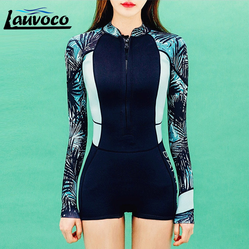 Sexy Women's Swimming Suits One Piece Swimwear Long Sleeve Swimsuit Surfing Beachwear Rash Guards Female Wetsuit maillot de bain