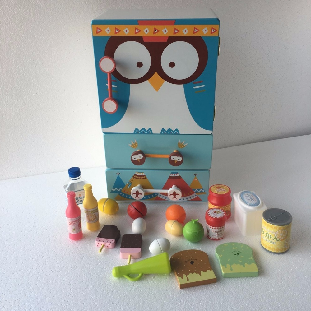 Kids Wooden Cartoon Kitchen Toy Set Child Simulation Play Food ...