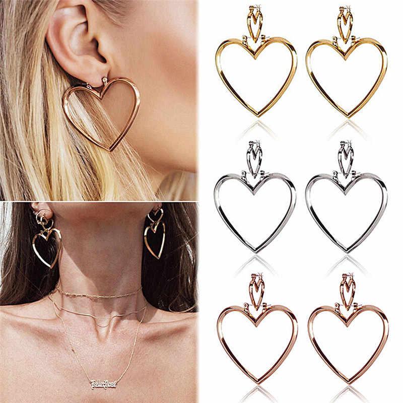 JETTINGBUY bán Hot New 1 Cặp Đôi Tim Earrings Phụ Nữ Big Tim Hoa Tai Vàng Rose Gold Màu Dangle Earrings đồ trang sức