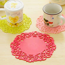 2017 New Drop Shipping Colorful Cup Mat Silicone Soft Rubber Coaster Cup Pad for Hot Mug Glass Plate Table Decoration Pan Mat(China)