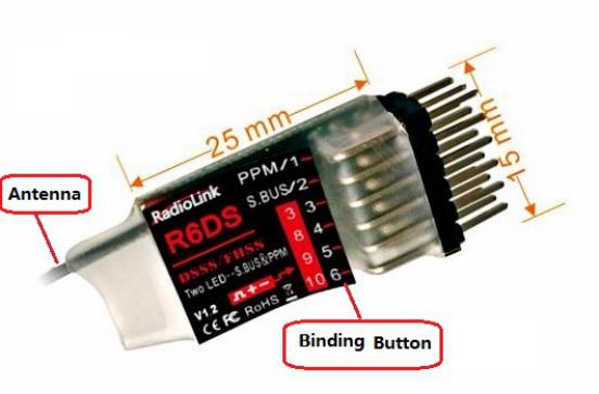 Original RadioLink R6DS 2.4G 6CH DSSS & FHSS RC Receiver for RadioLink AT9 AT9S AT10 Transmitter Support SBUS PPM PWM