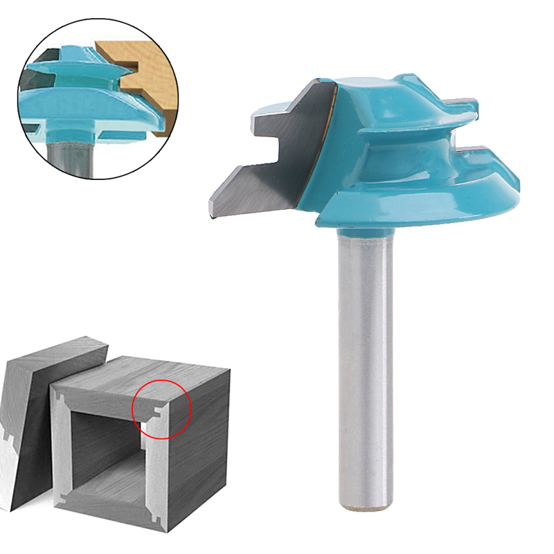 Small Lock Miter Router Bit 45 Degree 1/4 Shank 1-1/2 Width Tenon Cutter Chamfer End Mills 1pc 8mm shank high quality 45 degree chamfer