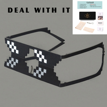 ZEXI Deal with it Minecraft Glasses Rimless Steampunk Goggles Thug Life 8 bit Pixel Glasses Black Cosplay Sunglasses NS029