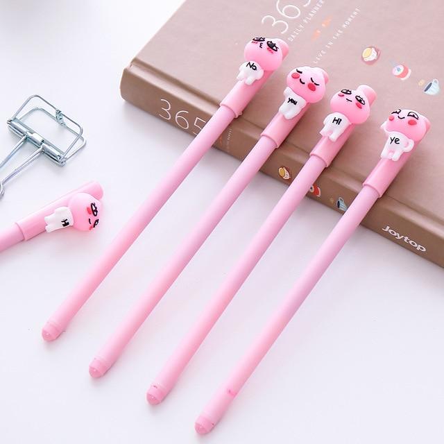 24pcs/lot Cartoon 0.38 mm Pink Cute Peach Expression Gel Pen Writing Ink Pen  Promotional
