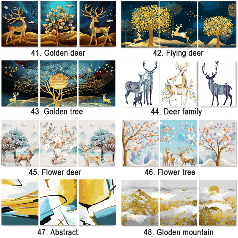 HTB16TS6cBOD3KVjSZFFq6An9pXaF 3 pcs DIY Oil Painting by Numbers Flower Triptych Pictures Animal Coloring Landscape Abstract Paint Wall Sticker Home Decor Gift