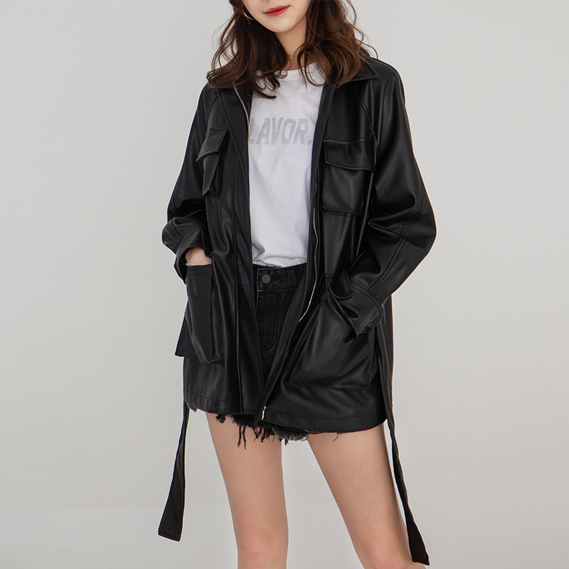 Women Wear Vintage Fashionable Lapel Waist Women PU Leather Jacket 2019 Turn down Collar Sashes Black Women Coats and Jackets in Jackets from Women 39 s Clothing