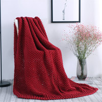 European Solid Red Knitted Throws Blanket Portable Jacquard Bedroom Decorative Rectangle Red Fashion Thick Sofa Cover