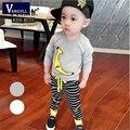 2016 новая весна Корейский мальчик патч банан полосатый брюки костюм костюм младенца оптовая