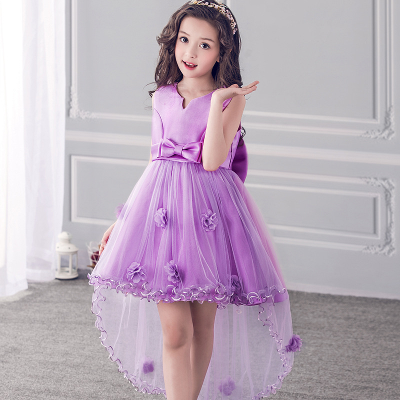 Girl Wedding Summer Party Purple Dresses For Girls Birthday Princess