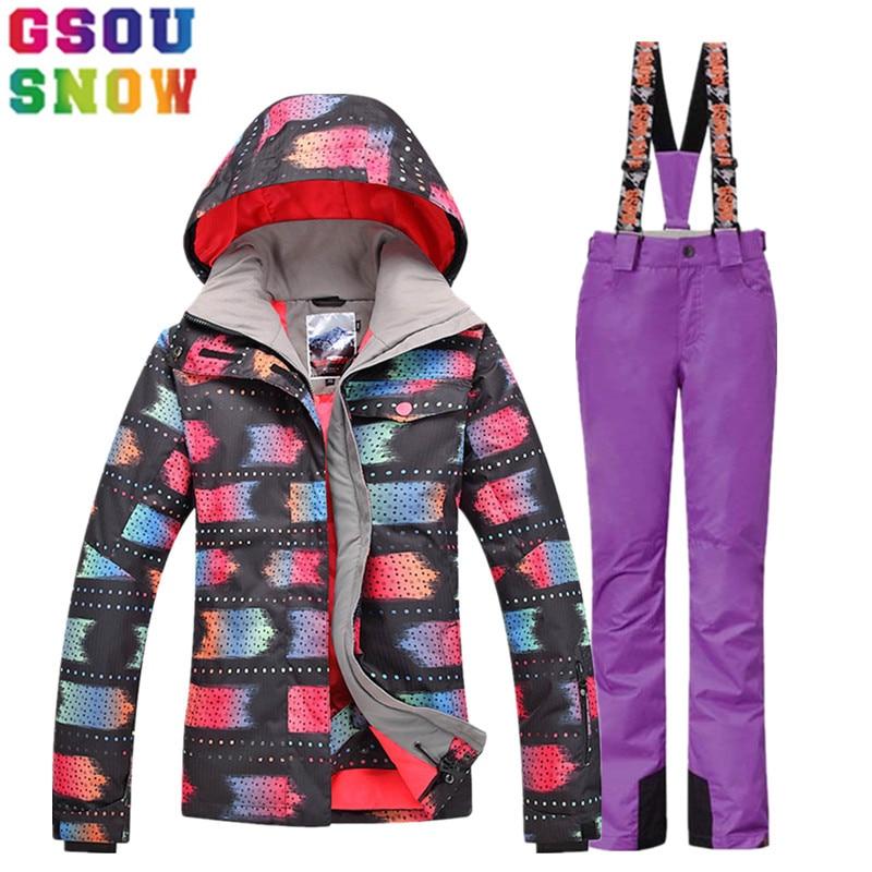 GSOU combinaison de Ski d'hiver pour femme veste de Ski + pantalon de ski ensemble costume de Ski de montagne en plein air Snowboard vêtements coupe-vent imperméables