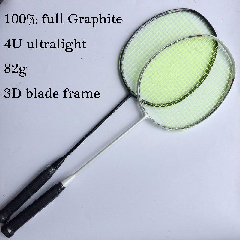 Urltra-светильник 4U 82 г Новинка 3D лезвие ракетка для бадминтона углеродное волокно ракетка для бадминтона