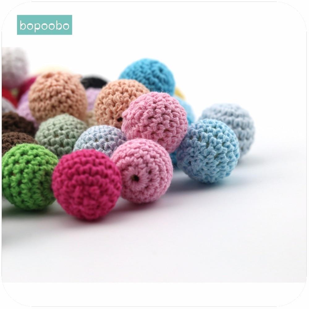 Bopoobo Baby Nursing Accessories Crochet Beads 20mm 5pc Food Grade Teether DIY Jewelry Crib Sensory Toy Baby Teether