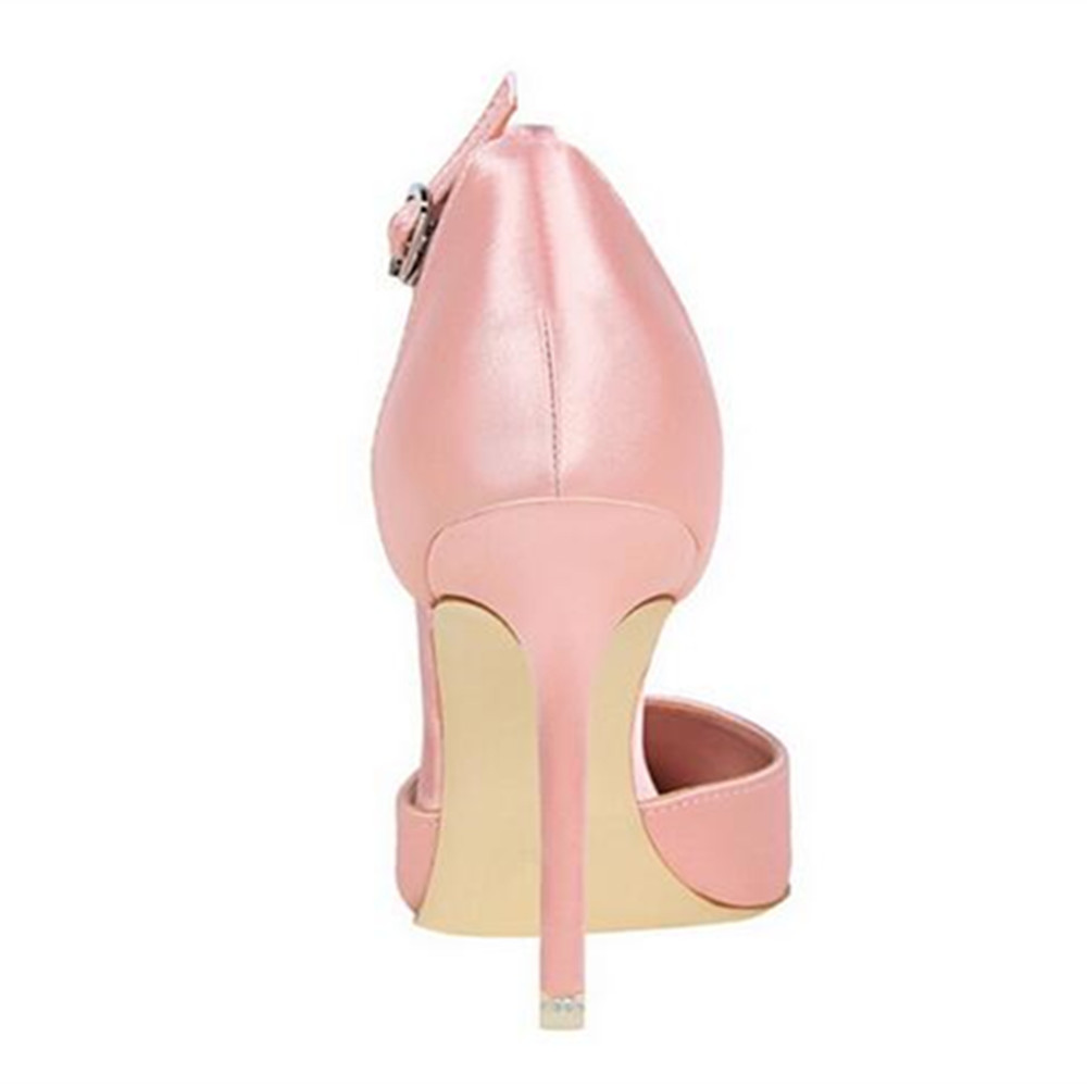 Rhinestone Flower High Heel Pumps Fashion Satin Wedding Shoes