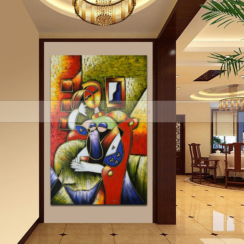 World famous Oil Painting Abstract Portrait Lady By Pablo Picasso Wall Picture 100% Handmade Home Wall Decor Unique Gift