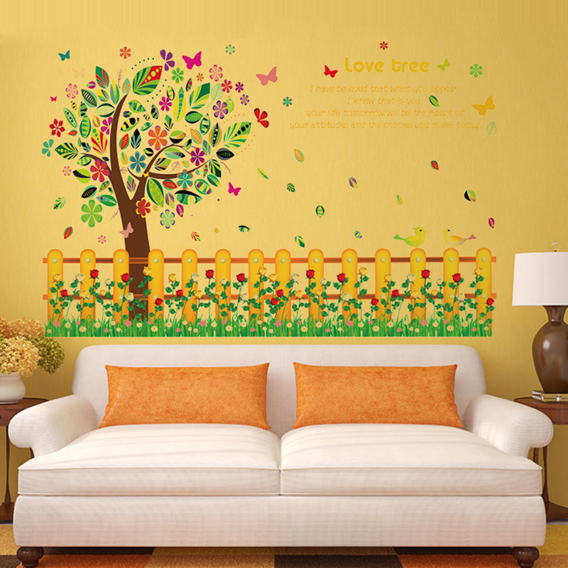 3D wallpaper fence flower tree Girl Room princess personality ...