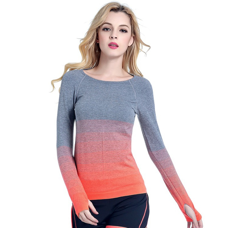 Women Professional Yoga Sport Gradient Color T Shirt Long Sleeves Hygroscopic QuickDry Fitness Elastic T-shirt Women Top Shirts blue lace up design chimney collar cold shoulder long sleeves t shirts