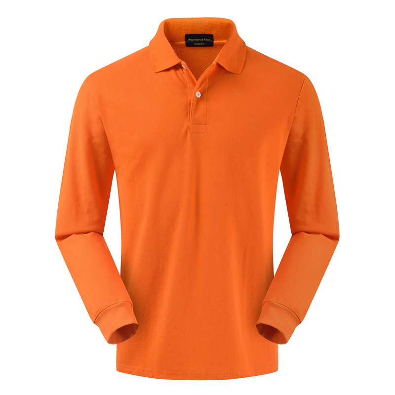 High quality 100% cotton male spring and autumn lapel   POLO   shirt business solid color middle aged bottom shirt top size orange