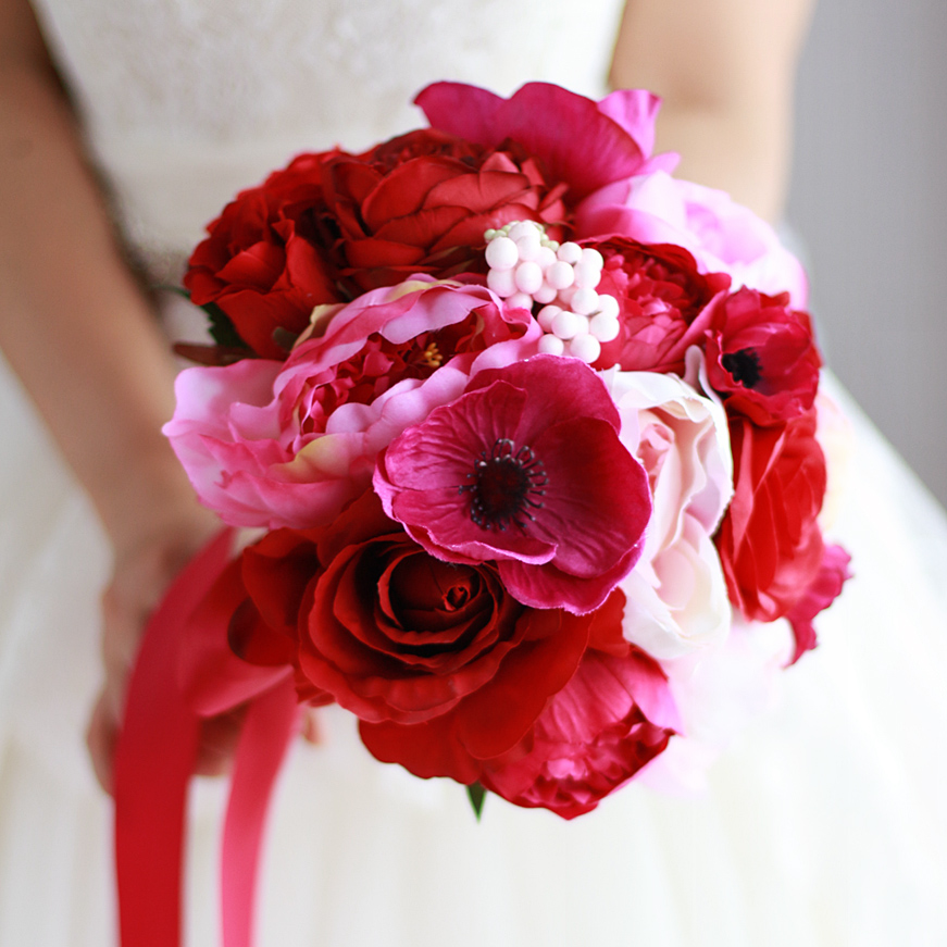 Peony Flower Bouquet Wedding: Red Rose & Peony Bouquet Red Wedding Flower Decoration