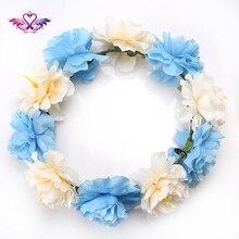 M MISM Female Bohemia Flower Wreath Headdress Women Wedding Big Flower Garland Crown Headband Head Clasp Hair Band Accessories