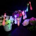 20 Led Forma de Gota de Agua Del Jardín Del LED Luces de Hadas de la Navidad Del Banquete de Boda Garland Holiday Lighting Cuerdas Luces Solares Lámpara