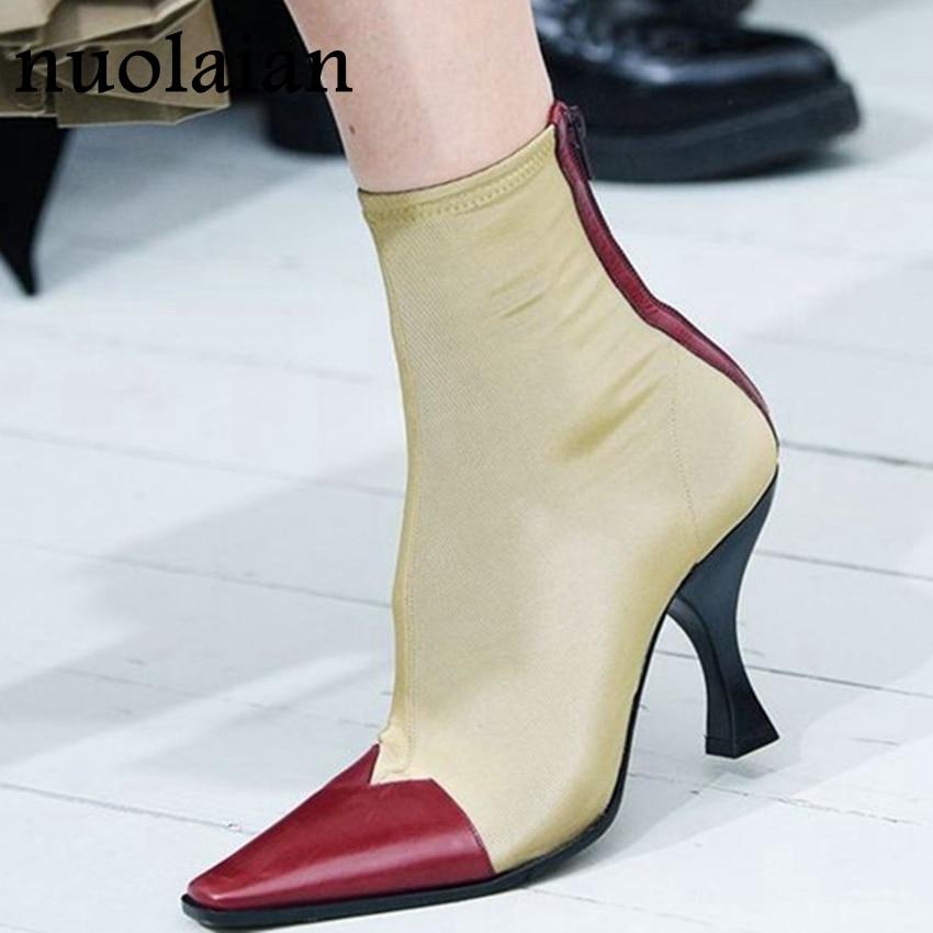 8 cm Femmes Chaussette Bottes Stretch Tissu Haute Talons Boot Femme Automne Hiver Chaussures Dames Cheville Bottes À Talons Hauts Plate-Forme boot Chaussures