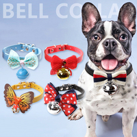 Pet S Christmas Gift Puppy Kitten Leather Bell Buckle Necklace Collar Tie Set Of 2