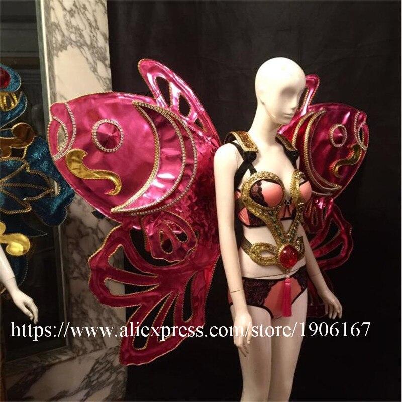 Китайский ветер рыбы Крылья Одежда секрет Catwalk DS сценический костюм Одежда для танцев пикантные женские Вечеринка платье