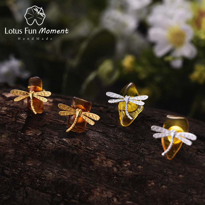 Lotus Fun Moment Real 925 Sterling Silver Natural Creative Handmade Fashion Jewelry Cute Dragonfly Stud Earrings for Women