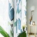 Современные Простые шторы для гостиной Ins  скандинавские шторы с принтом банановых листьев  занавески для спальни из хлопка и конопли  Солнц...