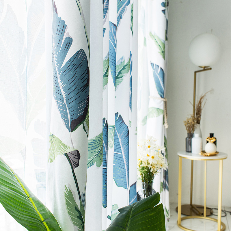 Modern Simple Curtains For Living Room Ins Nordic Banana Leaf Printed Curtain Bedroom Cotton And Hemp Sunshade Cloth