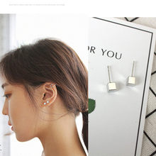 2017 new fashion black gold silver temperament wild box Earrings For Women gifts jewelry Stud Earrings Fashion Jewellery China(China)