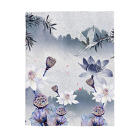 Japanese Printed Blanket Chinese Painting Style Crane Flies Over A Pool Full of Lotus Flowers Bamboo Heaven and Earth Fairyland